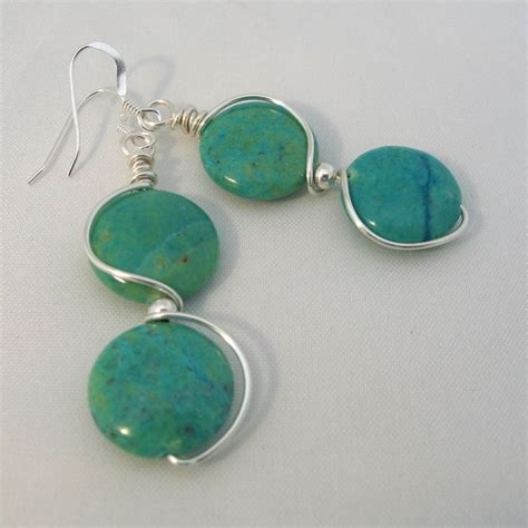 blue green jasper wire wrapped earrings jewerly