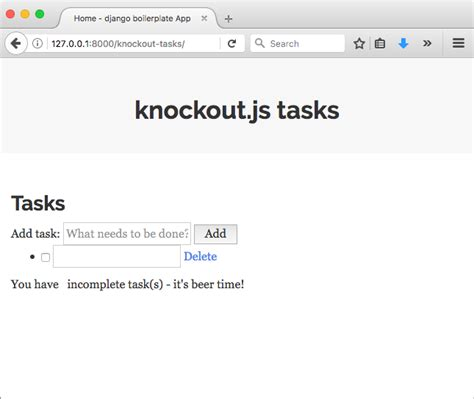 knockout template knockout js loading and saving data from and to django