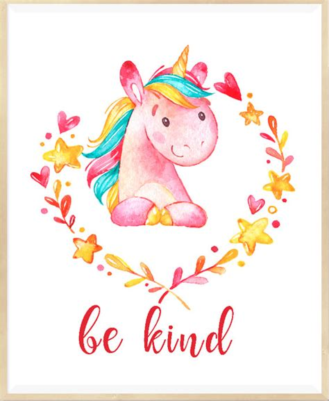 unicorn printable art be kind print unicorn wall art nursery printable