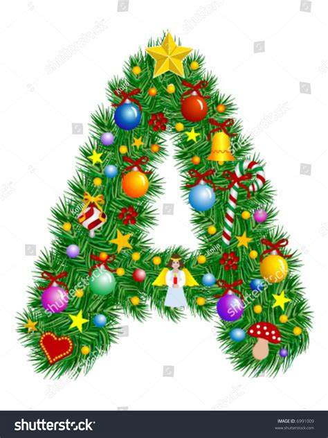 letter christmas tree decoration alphabet stock vector