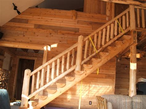 Log Cabin Stairs by Log Cabin Traditional Staircase Detroit By Sanford