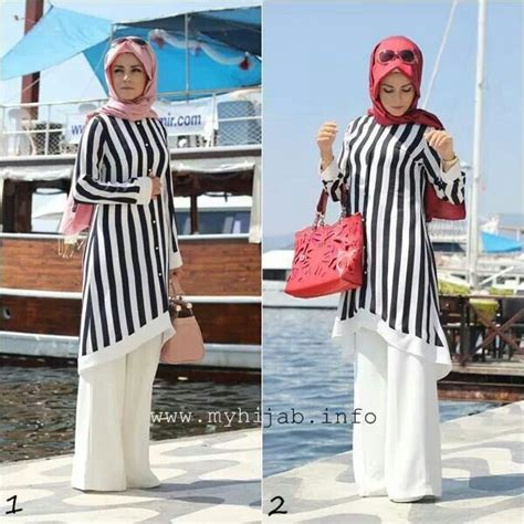 Baju Atasan Blouse Tunik White Stripe Roses S Import Original muslimah fashion inspiration i style