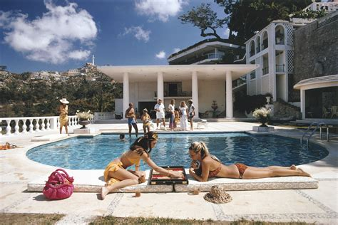 poolside with slim aarons canvases of poolside backgammon by slim aarons slim aarons slim aarons jets and