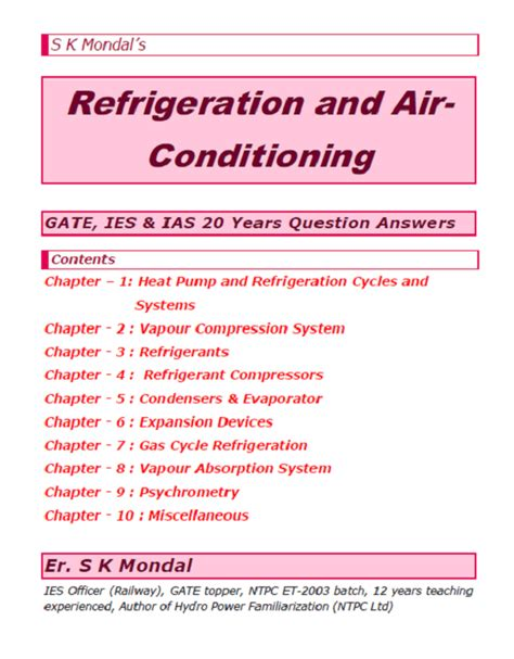 mondals refrigeration  air conditioning gate ies ias  years question answers topics