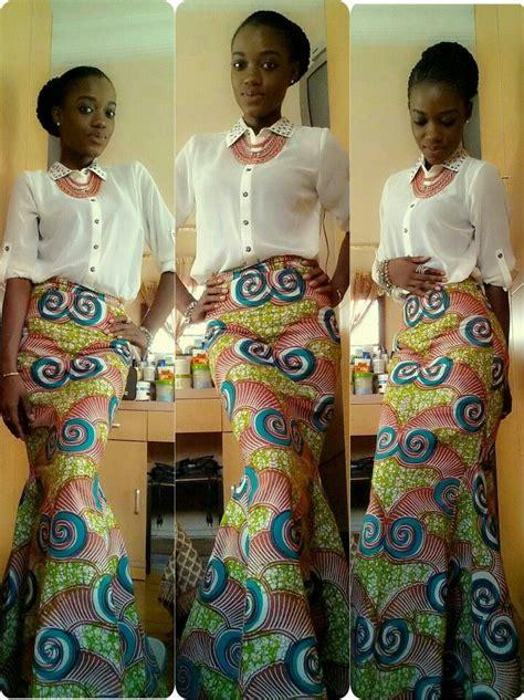 pictures of skirt sown with ankara material ankara long skirt n chiffon blouse ankara pinterest