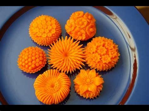 how to make flower food how to make carrot flowers vegetable carving garnish sushi garnish food decoration