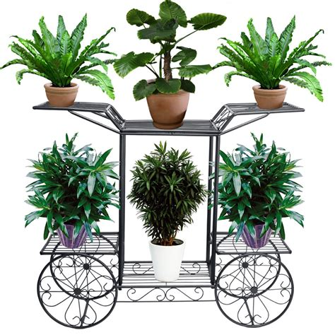 Garden Flower Stands 4 Wheeler Metal Flower Rack Display Plant Stand With 6
