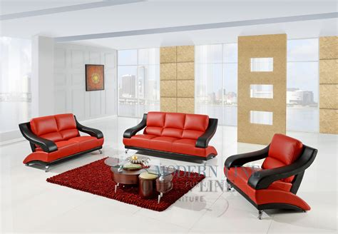 red living room set black and white leather modern and classic sofa set couch