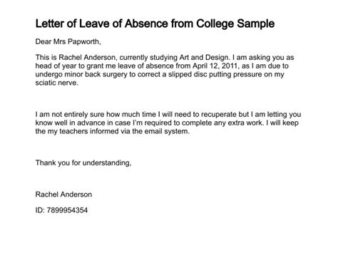 exle of formal excuse letter for college student exle of excuse letter for being absent in school