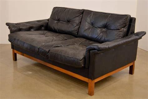 black tufted loveseat mid century black tufted leather loveseat danish at 1stdibs