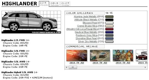 toyota highlander paint and chassis codes brochures toyota tundra forums tundra solutions