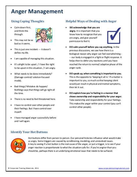 Anger Management Worksheets by Anger Management Sle
