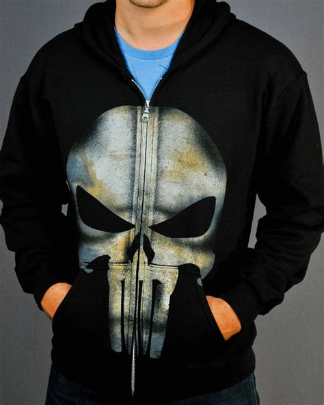 Hoodie Punisher punisher symbol zip up hoodie small s at mighty ape nz