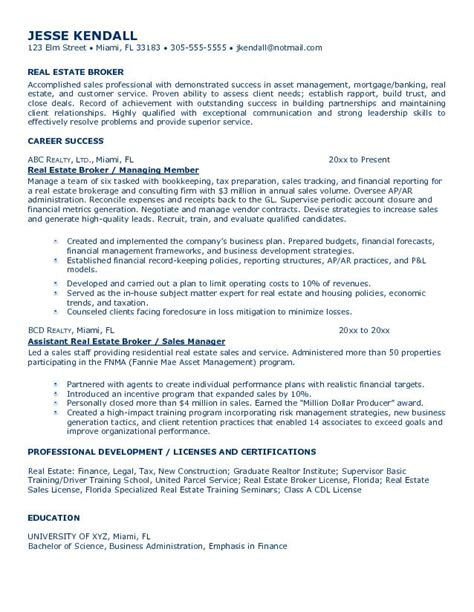 Sle Resume For Real Estate Broker Resume Of Real Estate 28 Images Real Estate Resumes Sles Sle Resumes Professional