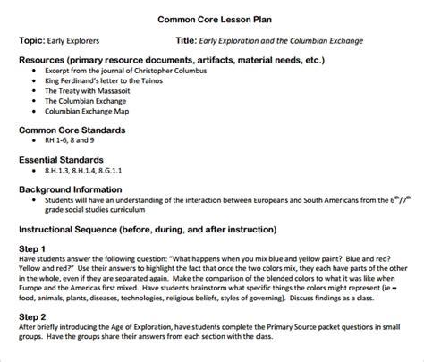 9 Common Core Lesson Plan Sles Sle Templates Common Lesson Plan Template