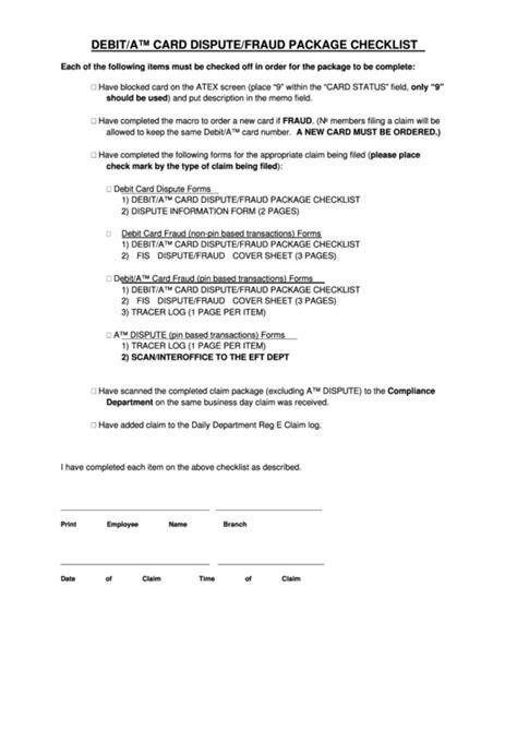Fillable Debit/atm Card Dispute/fraud Package Checklist
