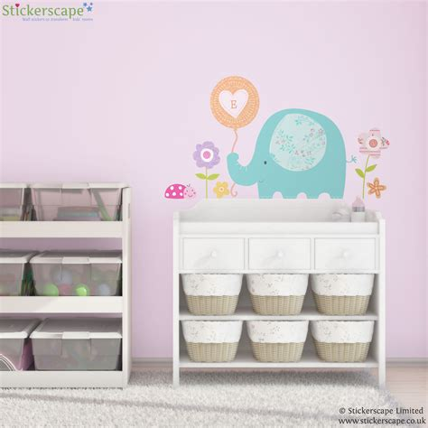 personalised wall stickers uk personalised elephant and balloon wall sticker stickerscape uk