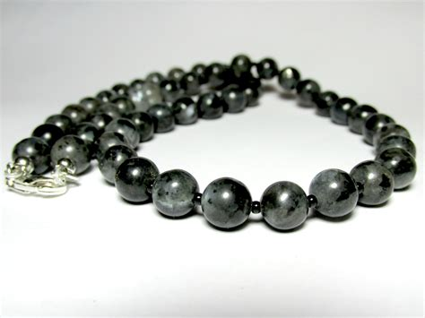 beaded necklaces mens mens larvikite necklace mens beaded necklace gemstone