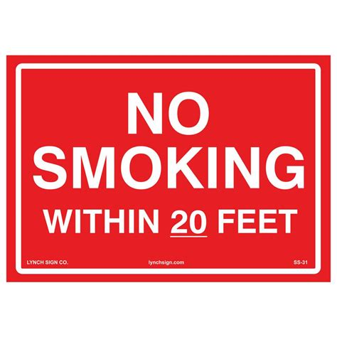 no smoking signs within 20 feet lynch sign 10 in x 7 in no smoking within 20 feet sign