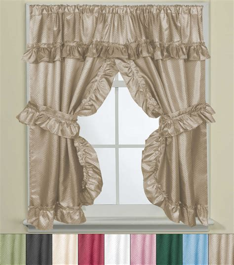 bathroom window valance bathroom window curtain set w tie backs ruffle valance