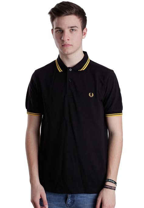 T Shirt Polo Fred Ferry fred perry slim fit tipped black new yellow polo streetwear shop impericon