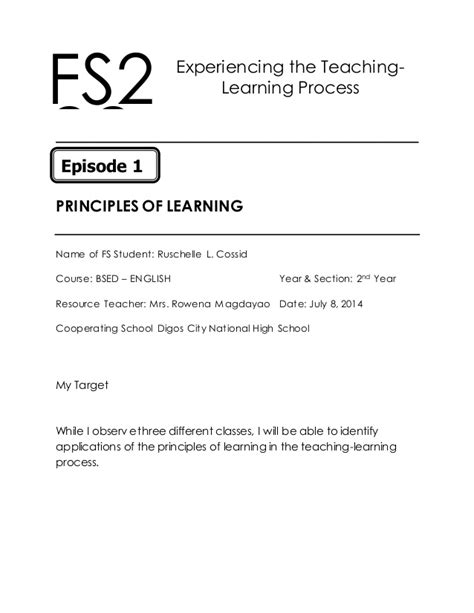 Field Study 2 Episode 1 Principles of Learning