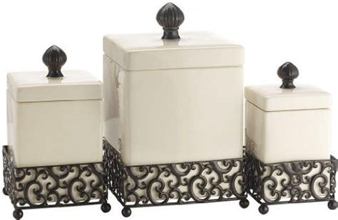 square kitchen canisters 2018 attractive set of three 3 square ceramic canisters on scroll designed pressed metal base