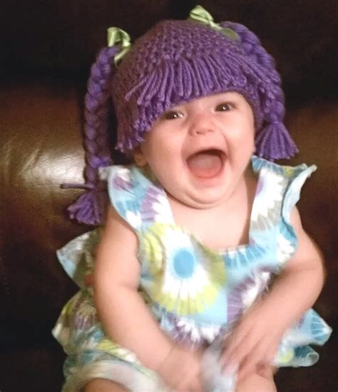 ponytails for cabbage patch hats baby girl adorable cabbage patch crocheted hat complete