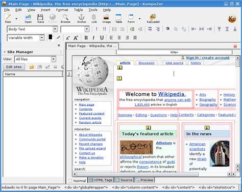 kompozer web design html editor kompozer recursos web para la docencia