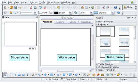 Openoffice Writer Outline View by Parts Of The Impress Window Apache Openoffice Wiki