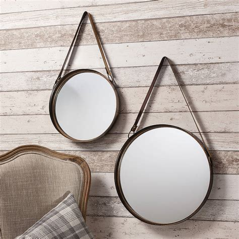 industrial round hanging mirror set with leather strap by