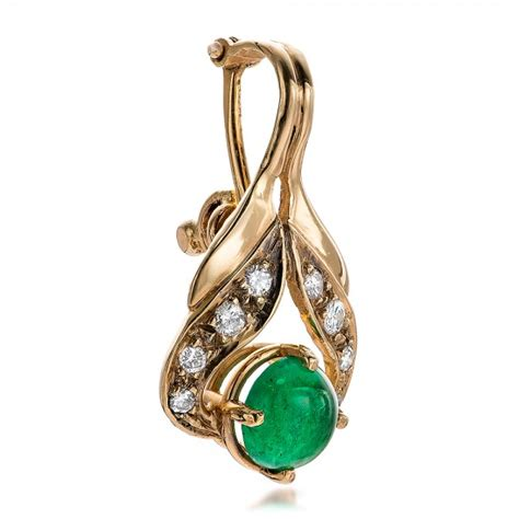 emerald cabochon and pearl enhancer 100755