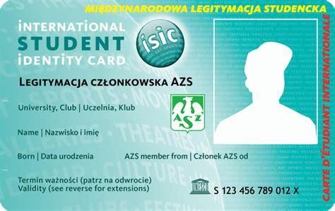 isic card template nowy spos 243 b wybierania i przedłużania legitymacji azs