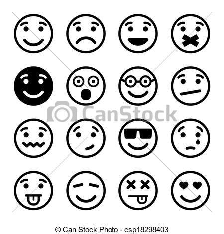 Sticker Drucken Ko by Smiley Faces Ns Set Vector Illustration Eps8