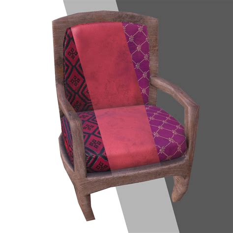 armchair pillow 3d model low poly armchair pillow stool vr ar low poly