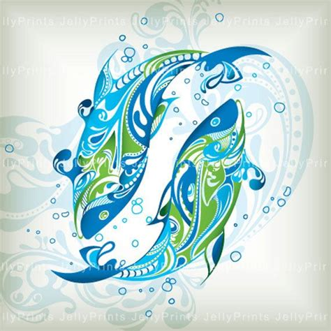 pisces fishes 5 x 5 print jp 0057 by jellyprints on etsy