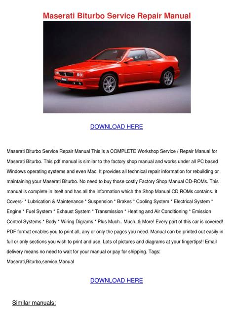 service manual 1984 maserati biturbo owners manual pdf 1982 1992 maserati biturbo oem
