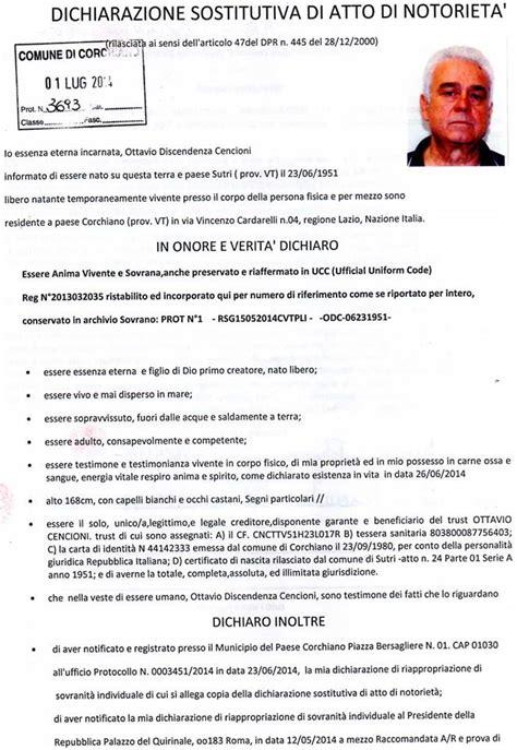 dichiarazione sostitutiva di atto notorio eredi sovranita individuale 4 info notifiche varie sos