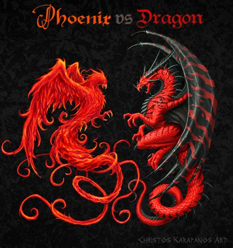 phoenix vs dragon by amorphisss on deviantart