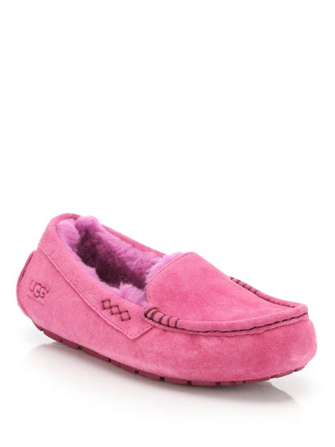 purple ugg slippers ugg ansley suede moccasin slippers in purple lyst