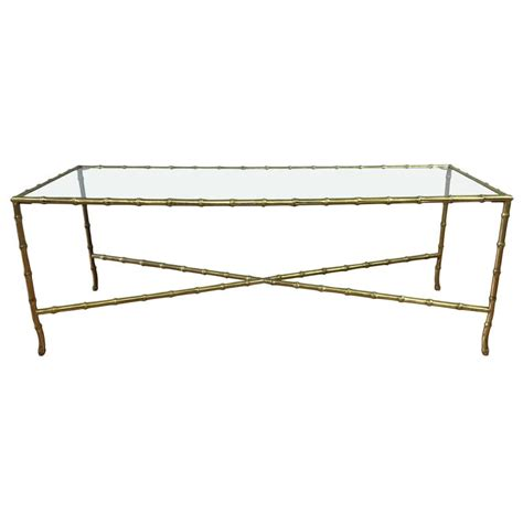 maison bagu 232 s faux bamboo brass and glass coffee table at