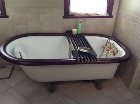 Bathtub Shelf Tub Caddy by Bathtub Caddy Shelf Made From Wooden Sticks Used For