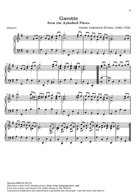 gavotte song in the musical based on george bernard shaws pygmalion and the 1964 film adaptation of the same name gavotte original version clavec 237 n piano partituras