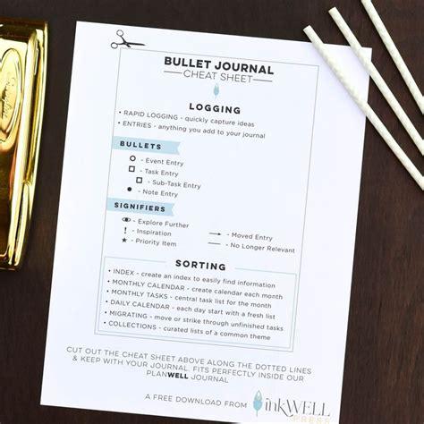 bullet journal free printable bullet journal cheat sheet planners