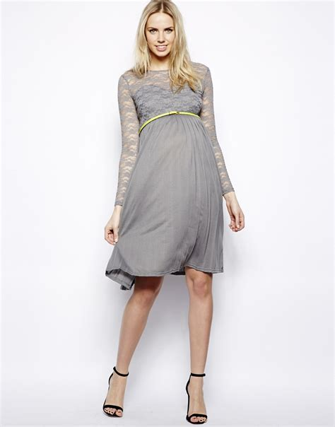 Grey Pleated 2pcs Dress lyst asos exclusive midi dress with lace top and pleated skirt with belt in gray