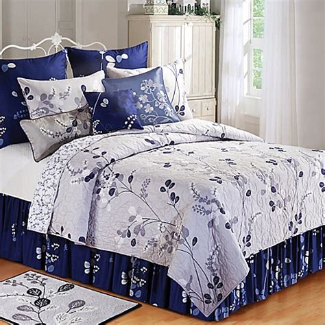 bed bath and beyond geneva geneva reversible quilt in grey navy bed bath beyond