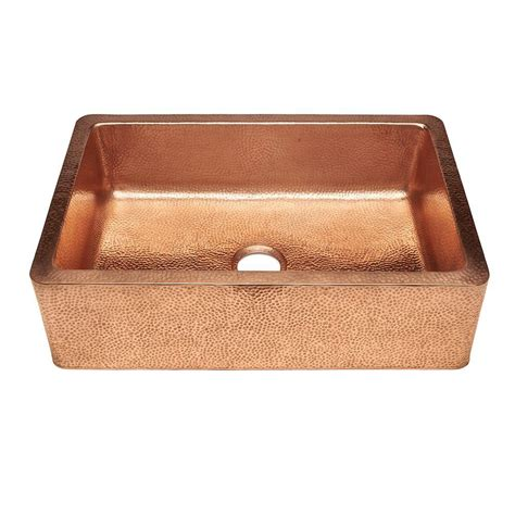 copper kitchen sink sinkology weston farmhouse apron front pure copper 33 in