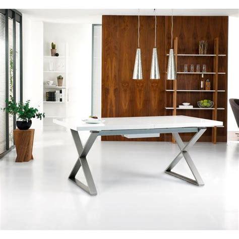 White Gloss Extendable Dining Table Crossed Leg Gloss Extendable Dining Table White Dwell 180 Or 220 X 100 Seats 8 10 163 599