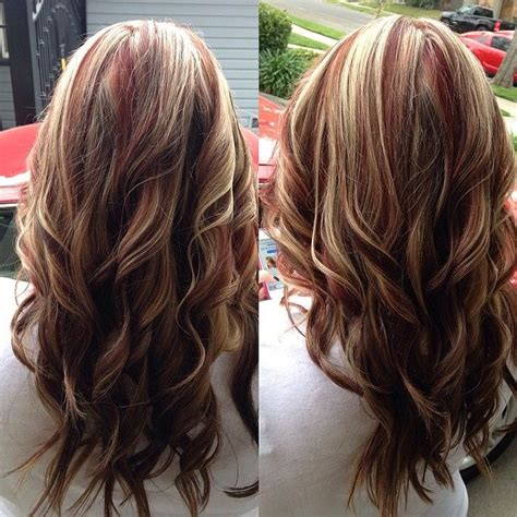 chocolate red hair on pinterest red blonde highlights red highlights with blonde and brown lowlights makeup