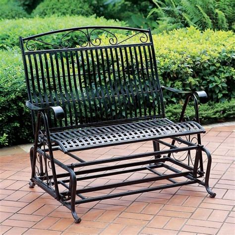 garden bench glider double seat patio glider w antique finish wro